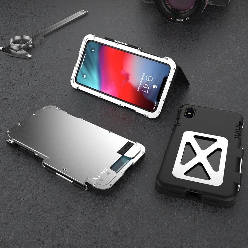 Cas de Téléphone d'origine Pour iPhone XS MAX Couverture De Luxe Acier Métal Flip Cas Pour l'iphone X/XS/XS MAX/XR Dur de Couverture De Protection Complète