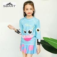 Sbart Girls Swimming Suit Long Sleeve Shirt + Skirt 2PCS Rash Guard for Children Beach Suit Nylon Anti UV Snorkeling Swimwear