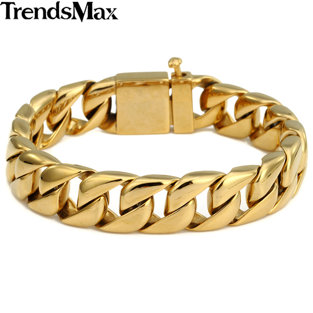 Trendsmax chapado en oro pulsera de acero inoxidable 316l mens boys cadena del encintado cubana joyería al por mayor de dropship hb123