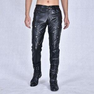 Image 2 - Nouvelle arrivla mode décontracté discothèque Costumes danse Hip hop Rock cuir pantalon loisirs hommes grande taille 27 28 29 30 31 32 33 36