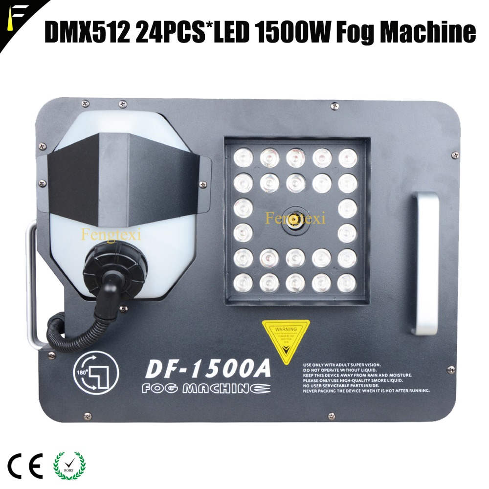 Full RGB 24*3W 3in1 LED Colorful Fogger DMX512 1500w Up Smoke Fog Machine Vertical Gas Column Spary with Tank Capital 2.5L
