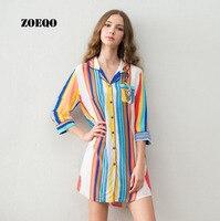 Zoeqo Для женщин пижамы хлопок Принт сексуальное платье сна ночная рубашка для дам новые Летний стиль Для женщин домашняя одежда пижамы