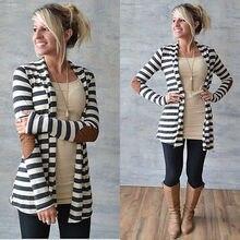 2017 New Women Inerratic Striped Cardigan Loose Sweater Coat Outwear Blouse Jacket Coat