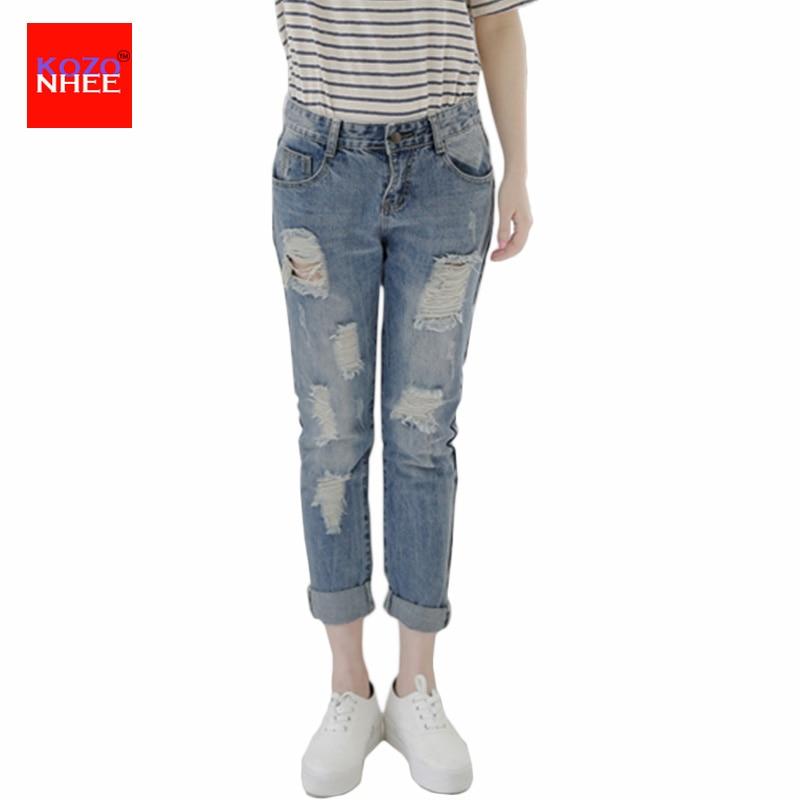 Roztrhaný přítel Volné džíny ženy s nízkým pasem maminka džíny Přítelci velké velikosti roztrhané džíny s otvory velké velikosti ženy  t