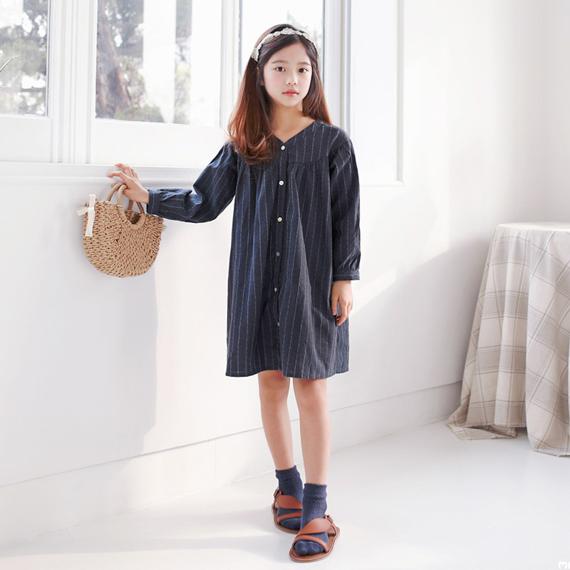 Brand Baby Girls Dress 2019 New Cotton Linen Stripe Children Casual Dress V-neck Kids Spring Dress Mother and Me Clothes,#3969Brand Baby Girls Dress 2019 New Cotton Linen Stripe Children Casual Dress V-neck Kids Spring Dress Mother and Me Clothes,#3969