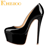 Kmeioo 2018 Hot Sale Sexy Ladies Shoes Fashion Platform Pumps Round Toe High Heels Evening Party Wedding Stiletto Woman S