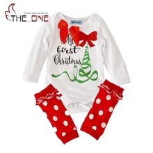 Baby Christmas Rompers Sets Toddler Girls Long Sleeve Bodysuit + Dots Leggings 2 Piece Set Suits Kids Reindeer Striped Clothing