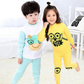2017 NEW Brand Autumn Winter Kids Unisex Thick Cotton Warm Thermal Underwear Sets Kids Boys Girls 2pic/set Long Johns age 3-14Y