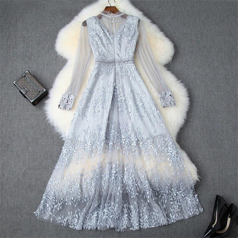 Lady Elegant Sexy Long Evening Party Dresses Female Vestidos 2019 Women Designer Full Sleeve Embroidery Tulle Autumn Dresses - 2