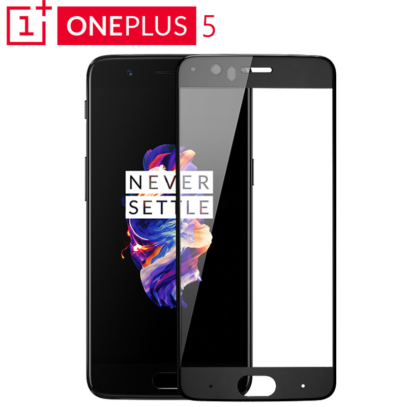 100-Original-OnePlus-5-Curved-Tempered-Glass-Screen-Protector-Full-Cover-Black-White-for-OnePlus-5
