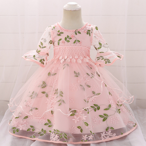 2020 летняя одежда для новорожденных, платье для девочки с длинным рукавом, 1-й день рождения, платье для девочки, платье принцессы для крещени...