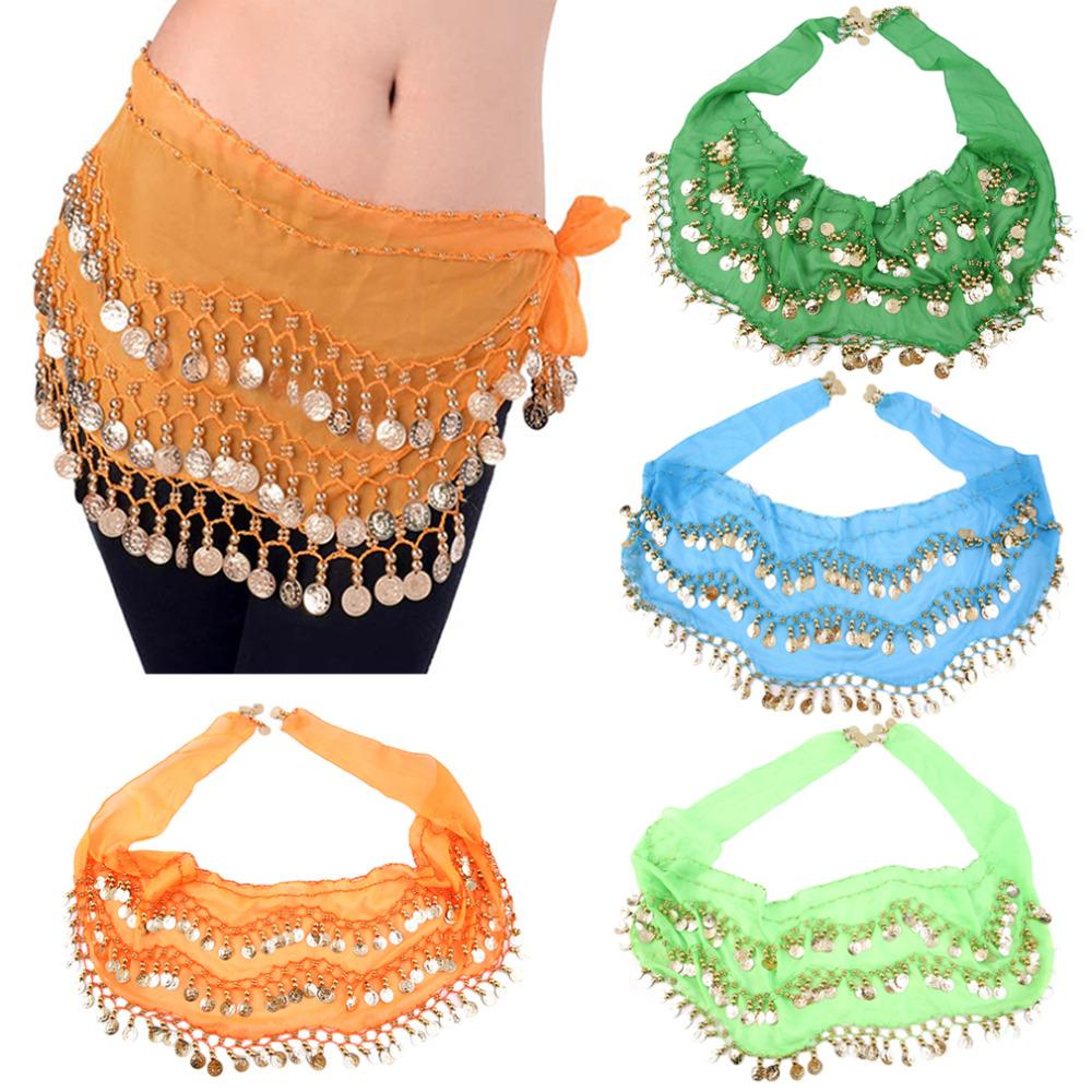 3 Rows 128 Gold Coins Colorful Belly Dance Costume Hip Scarf Skirt Belt Wrap Waist Tassel Chain 150*20cm Dance Accessories