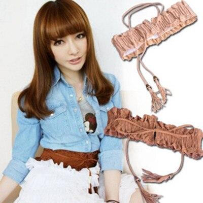 Lady Girl Hollow Fringed Tassel Elastic Cinch Corset Wide Waist Belt Waistband