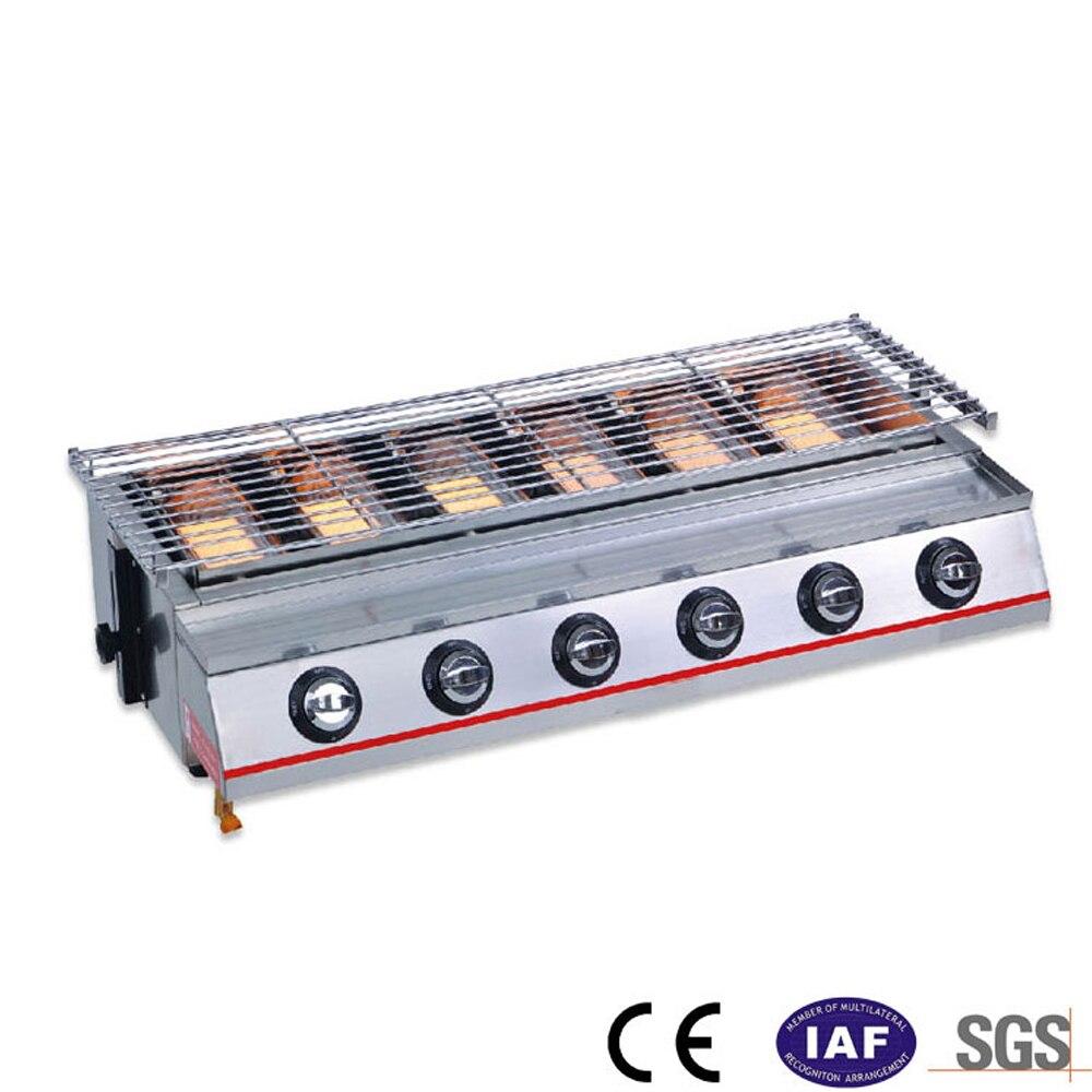 6 الشعلات شواء شواء الغاز الشواء الأشعة تحت الحمراء دخاني تحميص صينية الغاز شواء LPG نزهة شواية باربيكيو أدوات مطبخ-في شوايات الشواء من المنزل والحديقة على  مجموعة 1