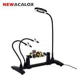 Newacalox soldagem magnética terceira mão led lupa lâmpada suporte de placa de circuito ajustável 360 ° rotativa pcb ferramenta de reparo do dispositivo elétrico