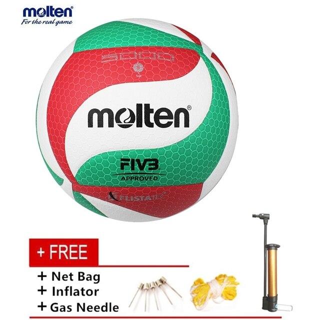 Nueva llegar V5M5000 tamaño 5 pelota de voleibol de interior/al aire libre competencia formación suave de la PU voleibol de playa libre inflador