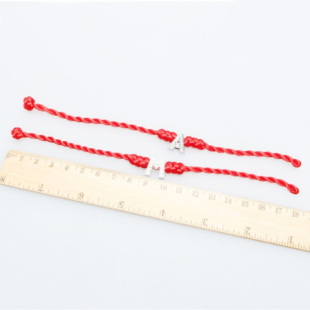 26 Letters 1pc Red Thread String Letters T Z Bracelets Red Rope Rhinestone Charming Women Lucky Bracelet Jewelry Gift For Lovers in Charm Bracelets from Jewelry Accessories