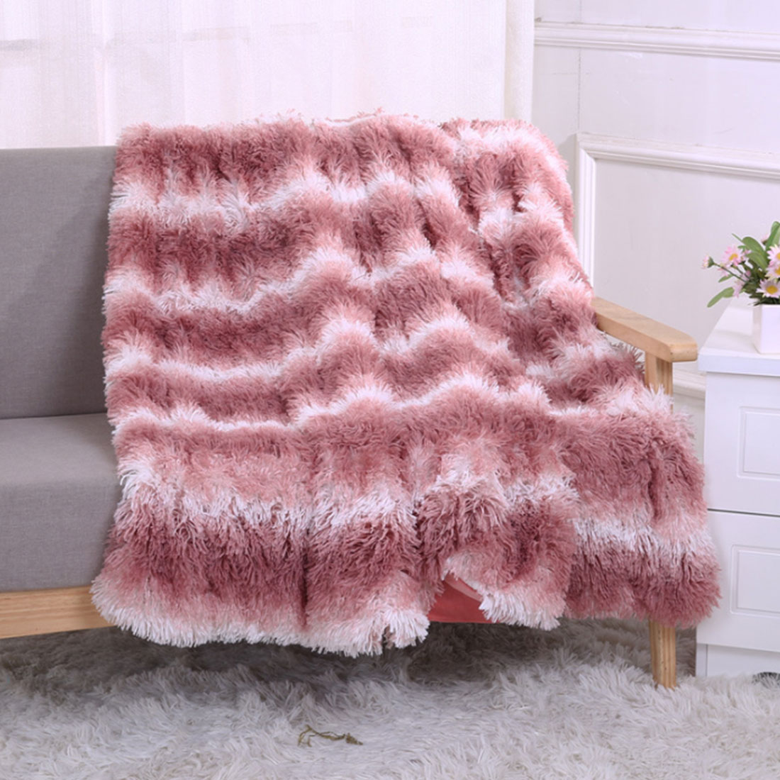2 Size Long Plush Shaggy Silky Blankets Faux Fur Throw Double Bedspread Red Summer Quilt Throw