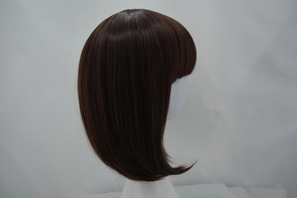коричневый парик фей-шоу синтетические термостойкие для женщин волос костюм кос-играть карнавал салон партия короткие волнистые боб парики студент