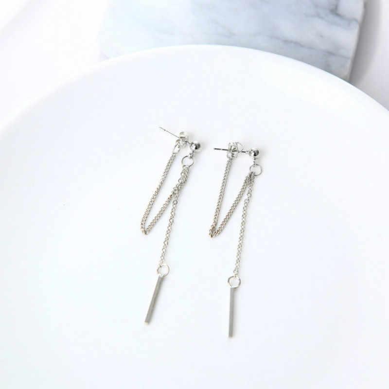 New fashion white triangle tassel chain gold and silver earrings Earings Fashion Jewelry 2018 Long Earrings Statement Earrings