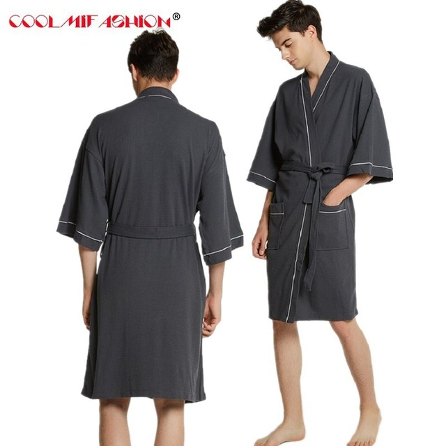 New Lovers Cotton Towel Bath Robe Men Sexy Kimono Waffle Bathrobe Mens  Womans Nightwear Dressing Gown Male Robes peignoir homme 7f7650620