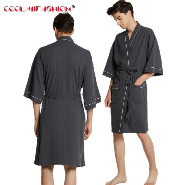 04f46831836a3 Nouveaux Amants Coton Serviette Peignoir Hommes Sexy Kimono Gaufre Peignoir  Hommes Les Femmes De Nuit Robe