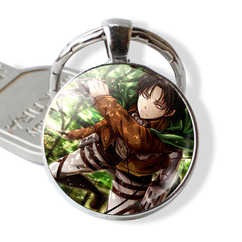 Anime Attack On Titan Keychain Levi Rivaille Cosplay Gift Glass Cabochon Keychain Keyring Car Key Holder Cartoon Jewelry