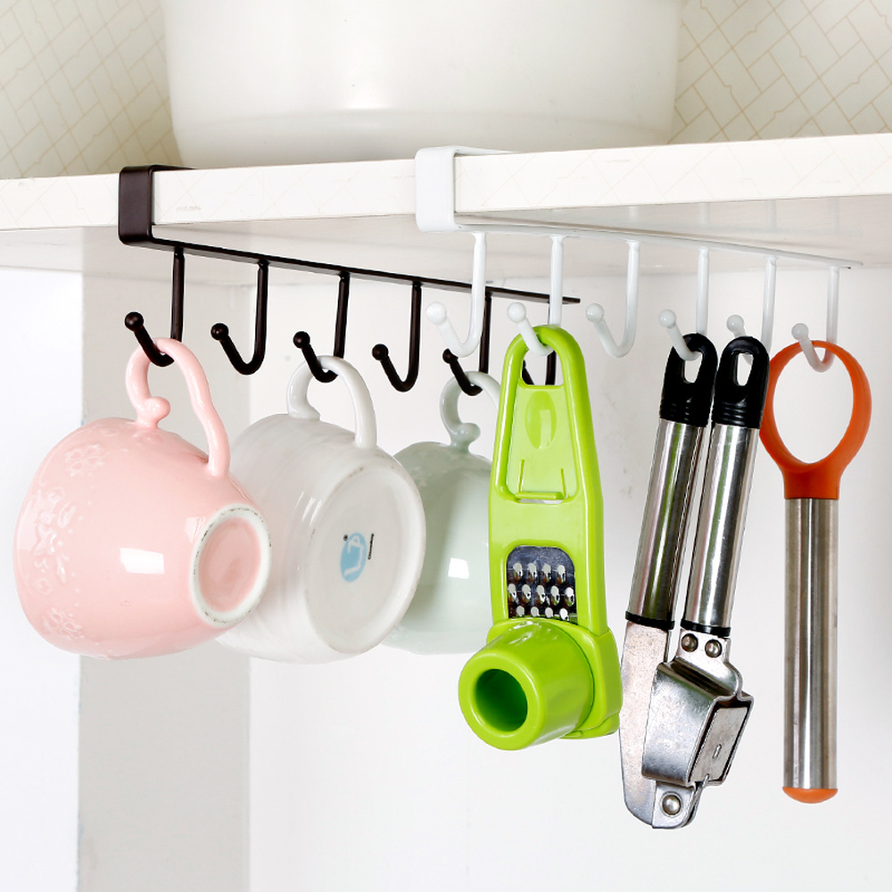 Multi-functional Cupboard Hanging Hook Shelves For Towel Chest Cup Drainer Holder Iron Kitchen Bathroom Organizer LU11261650