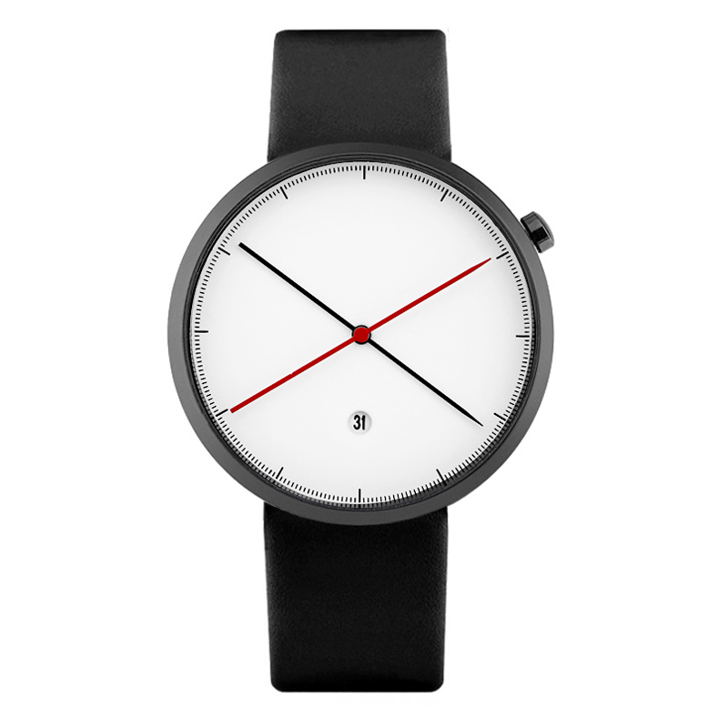 Enmex creative style cool wristwatch two balance hands with calendar casual leather strap fashion Stylish clock quartz watch gift enmex creative style lady wristwatch silver 3d vortex face creative design silicone band luminous brief casual quartz watch