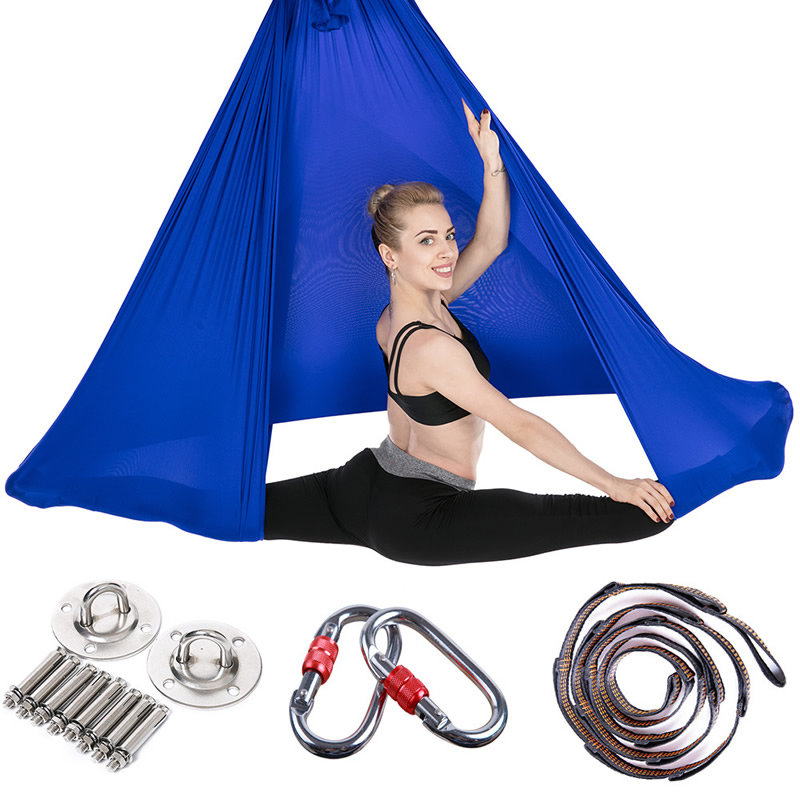 6*2.8m Aerial Flying Yoga Hammock Swing Trapeze Anti-Gravity Inversion Yoga Belt Aerial Pilates Traction Device Full Set 2 5m 1 5m elastic exercise yoga hammock aerial swing anti gravity yoga belt inversion trapeze hanging gym traction