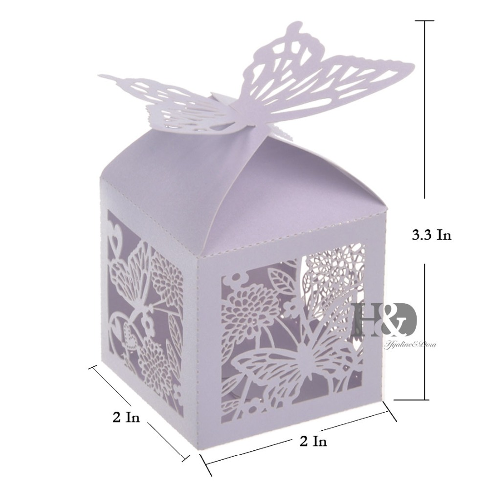 120 Set Lilac Laser Cut Butterfly Candy Boxes Wine Glass Cup Wedding ...