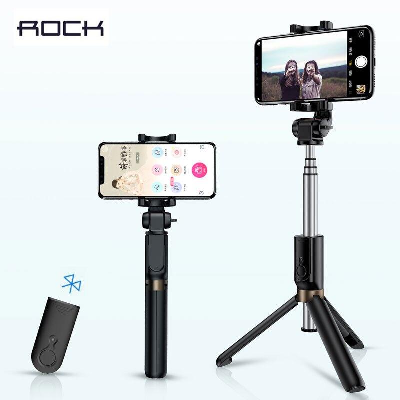 ROCK 3 dans 1 Sans Fil Bluetooth Selfie Bâton Pliable Mini Trépied Extensible Monopode Universel Pour iPhone XS X Samsung Xiaomi