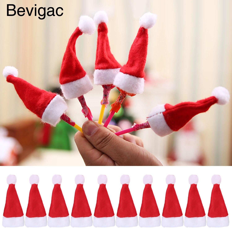 Bevigac 30pcs Cute Mini Red Santa Hat Xmas Decoration For Christmas