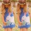 2016 Pretty Kids Baby Girls Cute Bunny Navy White Striped Cartoon Fashion Casual Dress