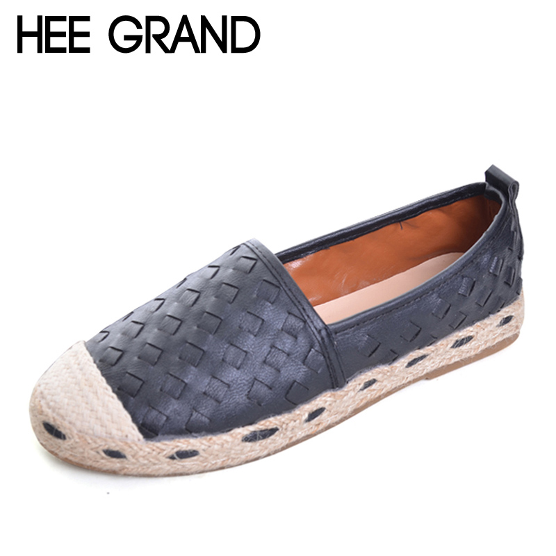 HEE GRAND 2017 New Loafers Weave Straw Ballet Flats Casual Fisherman Shoes Woman Slip On Comfort Solid Women Shoes XWD5762 the new straw linen canvas shoes men and women weave fisherman couple flats shoes