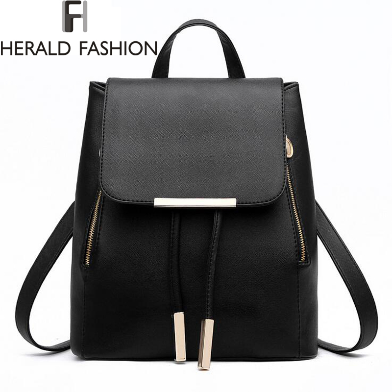 Herald Fashion Quality Women Leather Backpack Female Mochila Escolar School Bags For Teenagers Girls Causal Lady's Travel Bag