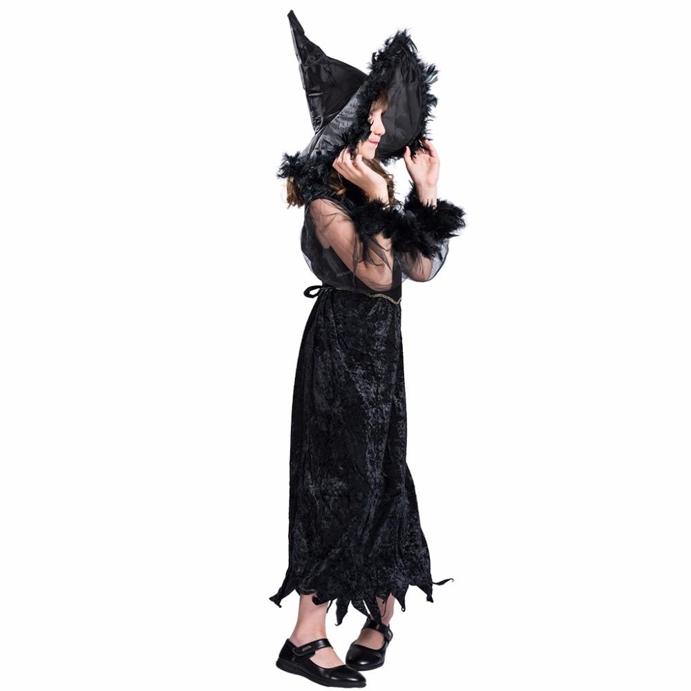 Kids Funny Kostymer Klänning och Hat Set Feather Witch Black - Maskeradkläder och utklädnad - Foto 2