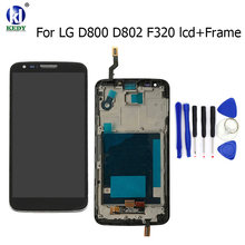 LCD Display Touch Screen Digitizer with Bezel Frame For LG G2 D800 D801 D803 D802 D805 F320 VS980 LS980 Assembley Repair Parts(China)