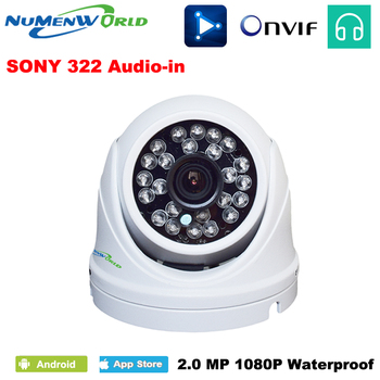 IPC 1920*1080p Motion Detect WDR Waterproof Bullet Indoor/Outdoor Use H.264 P2P ONVIF 2MP CCTV IP Camera  Audio NuMenworld