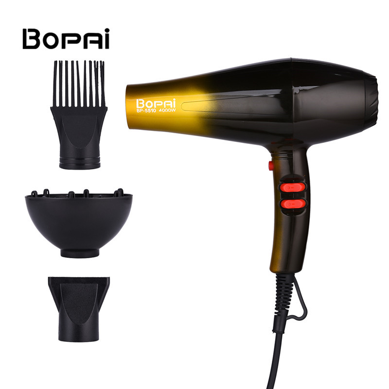 цена на Hot And Cold Air Hair Dryers Professional Powerful Hair Dryer Blower Power 4000W Hair Accessories Salon 220-240V With 3 Nozzles