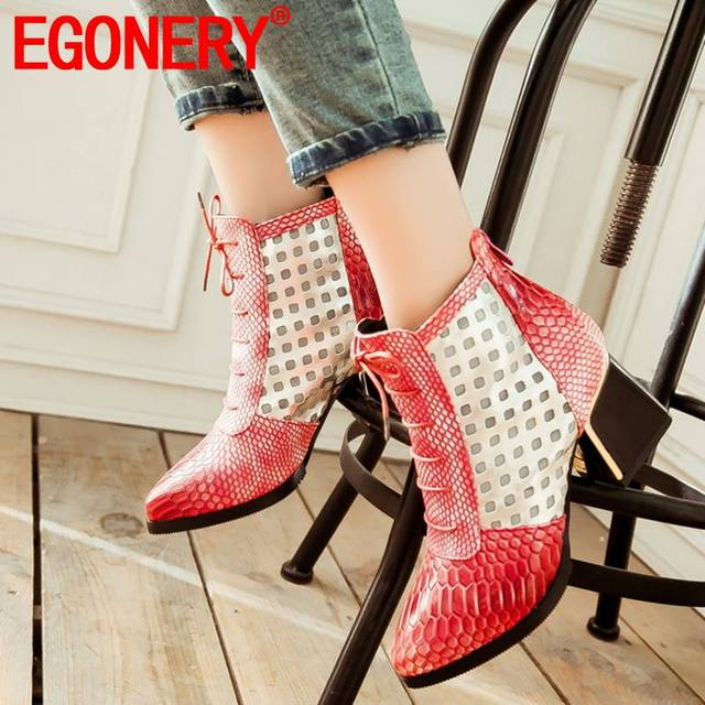 EGONERY martin bilekli çizme moda ofis kadın sonbahar kahverengi mavi kırmızı Polka dot desen artı boyutu 6.5 cm yüksek topuklu zip ayakkabı