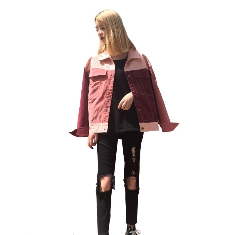 Rouge 2018 Unique Coréenne Patchwork Casual Femmes Rétro Automne Manteau Red Pink Vintage Poitrine Vestes Bomber Outwear Femelle Rose Survêtement ng1PSq