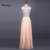 Vestido de festa New Fashion Evening Dresses 2017 High Neck Sleeveless Floor Length A Line Beading Chiffon Long 051121W