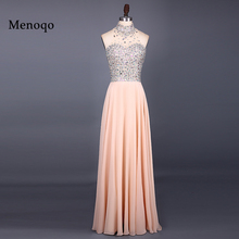 Vestido de festa New Fashion Evening Dresses 2017 High Neck Sleeveless Floor Length A Line Beading Chiffon Long 051121W