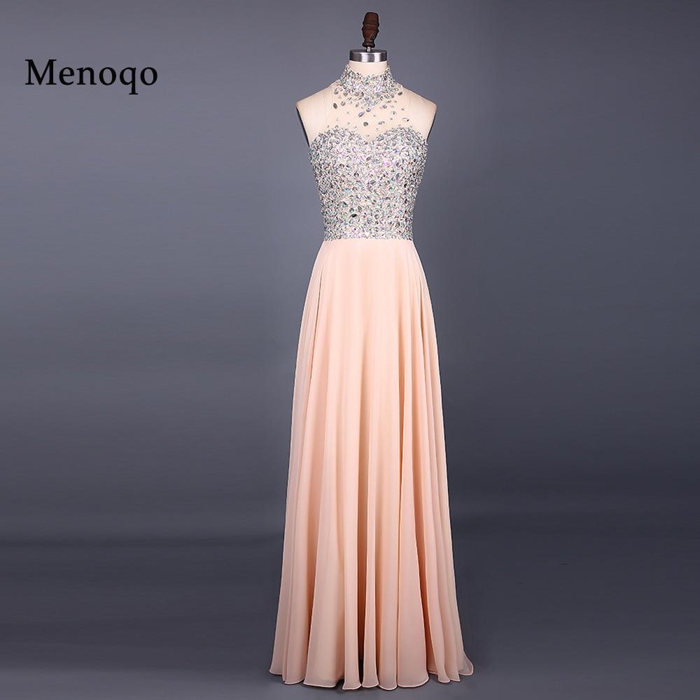 Vestido de festa vestidos de noite nova moda 2017 alta neck mangas andar de comprimento a line beading chiffon longo 051121 w