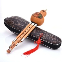 Chinese Traditional Hulusi Key Of C Bb Cucurbit Flute Professional Performance Nature Bamboo Hulusi Three Tone