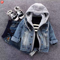 2017 Baby Denim Hooded Jacket For Boys Girl Kids Long Sleeve Outwear Coat For Girls Clothes Children Boy Denim Jean Coat 2-7Y