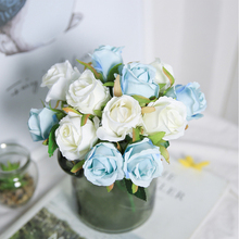 "12&24 Head 10""Rose Artificial Flowers Bouquet for Wedding Flowers Bride Bridesmaid Best Wishes Bouquet Flowers Home Decoration"