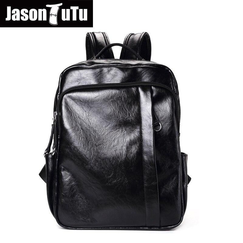 41cc02a9d4b5 Черный Искусственная Кожа Рюкзак Мужчины школьная сумка для подростков  мальчиков ноутбук bookbags ноутбук рюкзак дорожная сумка rugzak sac dos B715