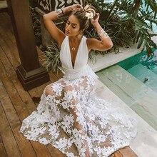 06eec702d9806c Sexy Sommer Kleid Frauen Ärmellose Spitze Kleid Weibliche Aushöhlen Weiß  Spitze Strand Kleider Tunika Saida De Praia Feminino